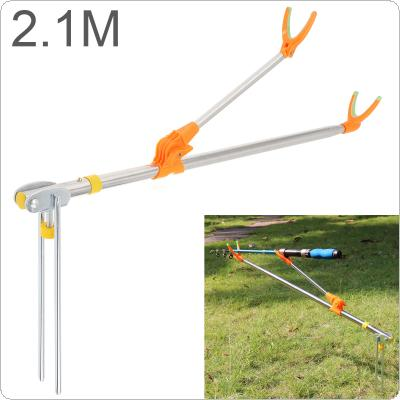 2.1m Fishing Rod Ground Inserted Stand Bracket Metal Stretch Pole Fishing Box Chair Holder