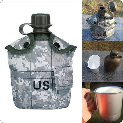 1L Camping Hiking Survival Kettle Heavy Cover Army Water Bottle Aluminum Cooking Cup US Military Canteen Outdoor Tableware