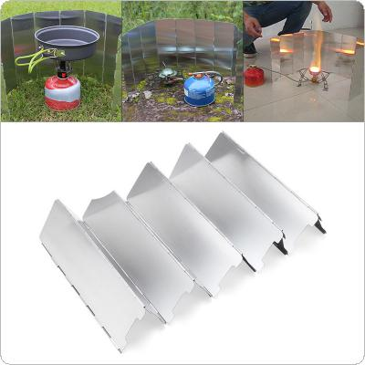 10 Plates Fold Outdoor Camping Foldable Aluminum Plates BBQ Stove Wind Shield