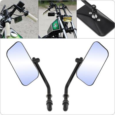 1 Pair Motorcycle Rearview Mirror Square Aluminum Alloy Universal Reversing Mirror Black