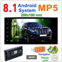 2 DIN 7 Inch QUAD Core Android  8.1 HD Capacitive Touch Screen Bluetooth Car MP5 GPS Player Car Life Support AM /  FM / Mirror Link Fit for TOYOTA