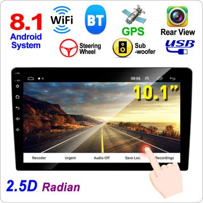 2 DIN 10.1 Inch QUAD-core Android 8.1 HD Capacitive Touch Screen Bluetooth Car MP5 GPS Player Support Dual USB / AM /  FM / AUX In /  Mirrorlink / WIFI
