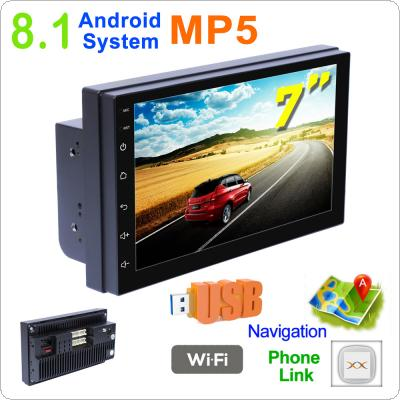 2 DIN 7 Inch QUAD-core Android 8.1 HD Capacitive Screen Bluetooth Car MP5 GPS Player Support AM / FM / AUX In / WIFI / Mirrorlink