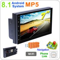 2 DIN 7 Inch QUAD core Android 8.1 HD Capacitive Screen Bluetooth Car MP5 GPS Player Support AM / FM / AUX In / WIFI / Mirror Link