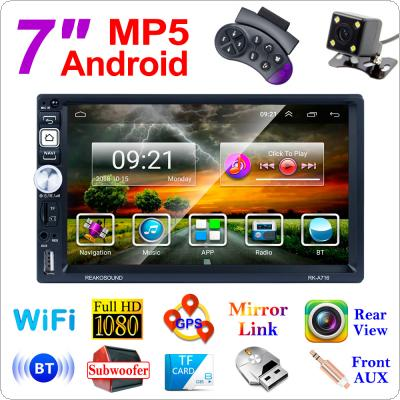 2 DIN 7 Inch QUAD-core Android 8.1 Bluetooth HD Touch Screen Car MP5 GPS Player Support USB / AM / FM / RDS / Mirrorlink / WIFI