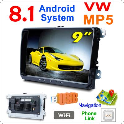 2 DIN 9 Inch QUAD-core Android 8.1 Car MP5 GPS Navi Player Support Bluetooth / FM / Phonelink / WIFI Fit for Volkswagen VW Skoda Octavia Golf Passat Jetta Polo