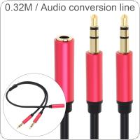 DiGiYes 0.32M/1.05Ft 3.5MM Female to 2 Male Earphone Adapter Converter Cable Headphone + Mic Audio Splitter Aux Extension Cable for Computer / PC / Microphone