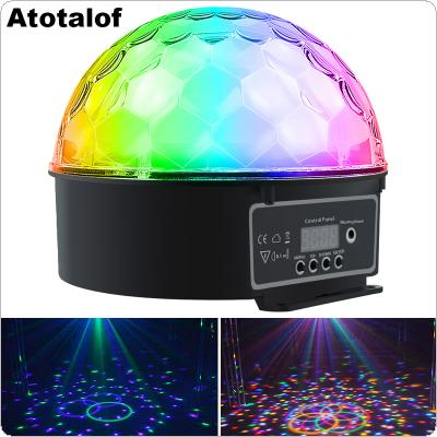 9W 9 Colors Rotating LED Stage Light Big Crystal Ball Support Auto / Voice / Remote / DMX512 Control for KTV / Disco / Party