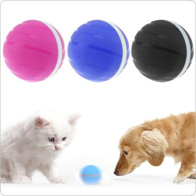 RGB LED USB Rechargeable Rubber 360° Auto Rolling Waterproof Durable Smart Interactive Kid Toy Pet Balls with Auto Sleep and Wake Up Function for Cats and Dogs