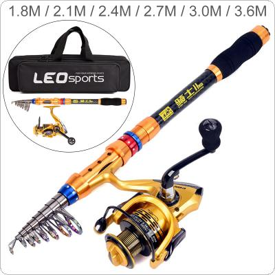 1.8m 2.1m 2.4m 2.7m 3.0m 3.6m Carbon Fiber Fishing Rod Reel Combo Full Kits 4000 Series Spinning Reel Fishing Bag Telescopic Casting Pole Set