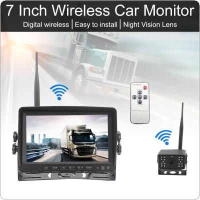 7 Inch 1080P Digital Wireless Backup Camera System Wide LCD Display Monitor with Waterproof Infrared Night Vision Camerafor Bus Truck Boat Security Surveillance