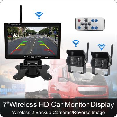 7 Inch Wireless Backup Camera Rear View Camera System HD TFT LCD Monitor with 2 x Waterproof Night Vision Camera for Bus Truck Boat Security Surveillance System