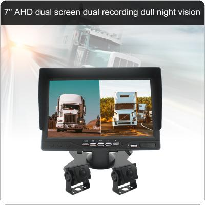 2PCS 7 Inch 1080P Full Color Night Vision  Monitor with Rear View Camera Dual Record Reversing Video System for Bus Truck Boat Security Surveillance