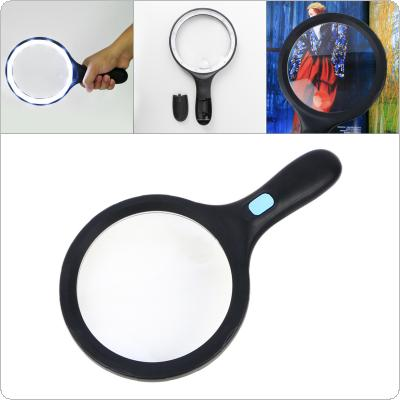 1.8X / 5X  138 / 25MM Handheld Racket Type Acrylic Optics Magnifier with 12 LED Lights and Frosted Non-slip Handle for Antique Appreciation / Reading