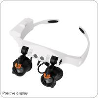15X 21 Amplification Ratio Interchangeable Lens Cold Warm Light Adjustable Headband Eyeglass Magnifier with 2 LED Lights and 12 Lens for Electronic Maintenance
