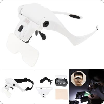3.5X Adjustable Rechargeable Headband Eyeglass Magnifier with 2 LED Lights / USB Cable / 5 Lens for Reading / Drawing