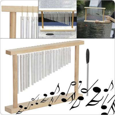 20 Tone Wind Chimes Silver Standing Wooden Frame Playing Wind Chime with Stick Instrument Decoration
