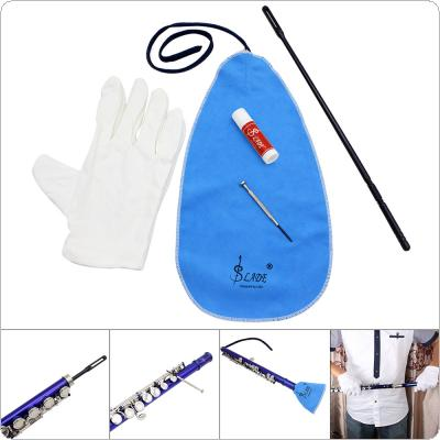 5pcs/set Flute Cleaning Tools Care Suit Tube Cloth + Cleaning Rod + Screwdriver + Gloves + Cork Paste