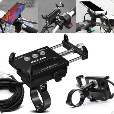 12-24V Motorcycle Mobile Phone USB Charging Holder Universal Adjustable Waterproof Aluminum Alloy Electromobile Holder