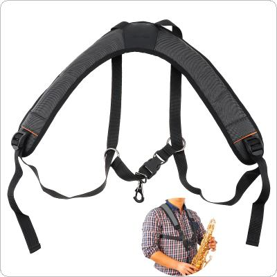 Adjustable Oxford Fabric Wider Add Cotton Saxophone Strap Sax Holder Double Shoulder with Steel Hook for Alto Tenor Soprano Sax