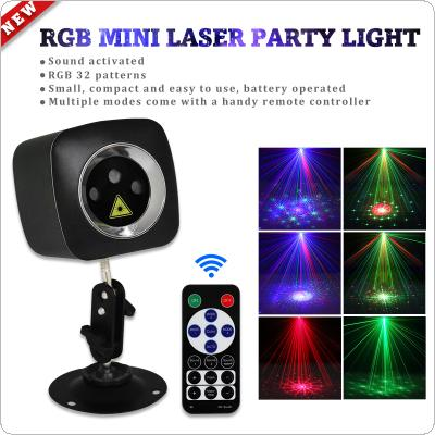 WL-513B Mini RG P32 Red / Green / Blue LED Light Effect Handheld Projector Laser Lamp with Remote Control USB Charging for Disco / DJ Club / Bar / KTV / Party