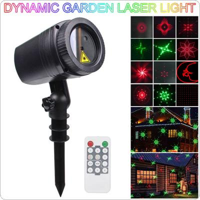 WL-502D 12 Red / Green Dynamic Patterns Waterproof LED Outdoor Lawn Lamp Projector Laser Light with RF Remote Control for Christmas / Garden Decoration
