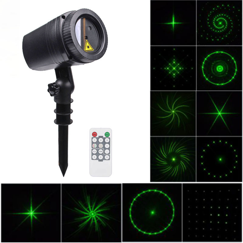 WL-502C 12 Red / Green Dynamic Patterns Waterproof LED Outdoor Lawn Lamp Projector Laser Light with RF Remote Control for Christmas / Holiday Party