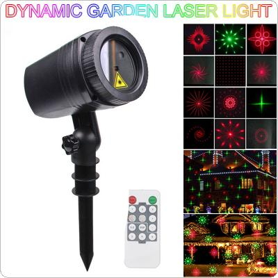 WL-502B 12 Patterns Waterproof LED Outdoor Dynamic Lawn Lamp Projector Laser Light with RF Remote Control for Christmas / Holiday Party / Garden Decoration