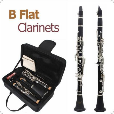 17 Keys bB Flat Clarinet Bakelite Body Nickel Silver Plated Keys with 10 Reeds Cork Oil Tube Cloth Screwdriver and Storage Box