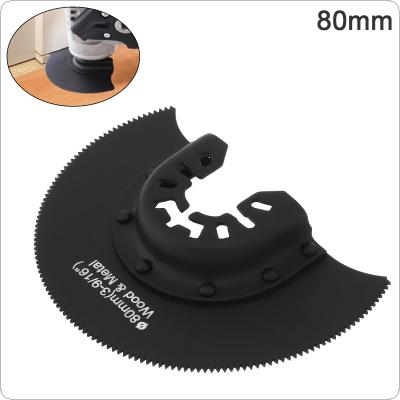 80mm Black High Speed Steels Semicircular Saw Blade Power Tool Accessories with Sharp Tooth Fit for Wood Cutting / Sheet Grinding / PVC Cutting / Nail Cutting