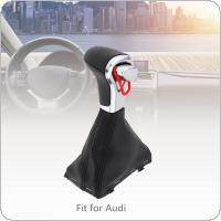 ABS+ PU Leather  Car Automatic Transmission Gear Shift Shifter Lever Knob Car Accessories with Dust Cover Car Accessories Fit for Audi A4 A5 A6 Q5 Q7 B8