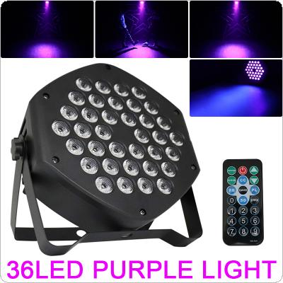 25W 36 x UV LED Purple Color Light Dyeing Par Light with Voice Control / Self-propelled / DMX / Master-slave / Wireless RF Remote Control for Small Party / KTV