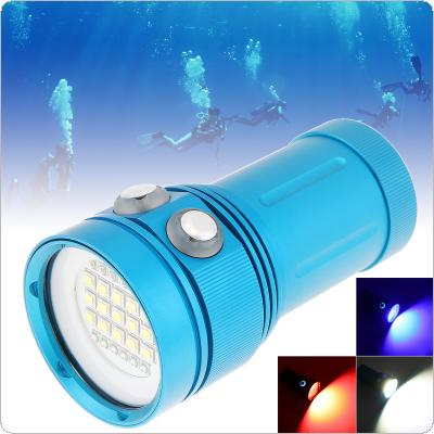 Blue Professional Diving Light Underwater 100m Scuba Video Light 150W 8000LM 15 XML2 + 6 Red + 6 Blue LED Photography Video Dive Flashlight Lamp