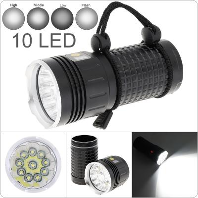 Power Display 10 x T6 LED 8000 Lumens Waterproof IP65 Aluminium Alloy Flashlight with 4 Modes Light and DC USB Cable