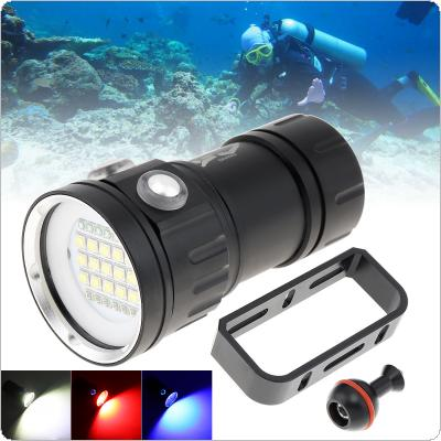 180W Fifteen 5050 White XML2 Six XPE Red R5 Six XPE Blue R5 LED Underwater 100m Scuba Diving Light with Spherical Bracket for Diving / Photography Fill Light