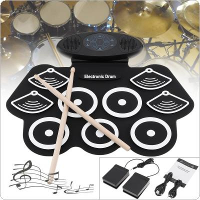 9 Pads Electronic Roll up Drum Thicken Silicone Double Speakers Stereo Electric Drum Kit with Drumsticks and Sustain Pedal