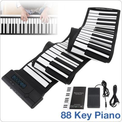 88 Keys Roll Up Piano USB MIDI Output Rechargeable Electronic Portable Silicone Flexible Keyboard Organ with Sustain Pedal