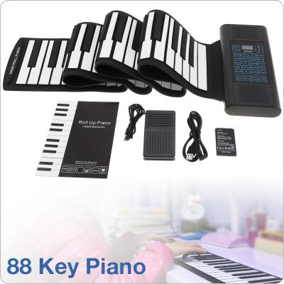 88 Keys Roll Up Electronic Piano Rechargeable Silicone Flexible Keyboard Organ Built-in 2 Speakers Support MIDI Bluetooth