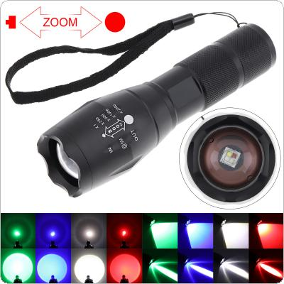 A100 5 Light Modes Red Green Blue White Light LED Tactical Flashlight with Adjustable Focus Waterproof for Camping / Hiking / Hunting / Fishing