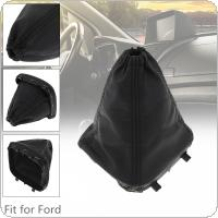 Black Leather + ABS Car Manual Gear Stick Shift Collars Lever Knob Gaiter Dust Cover Fit for Ford Transit Van MK7 2006 2007 2008 2009 2010 2011