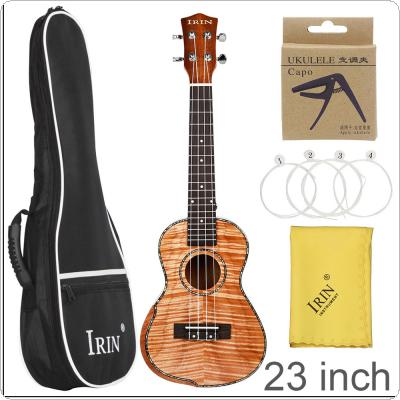 23 Inch Veneer Mahogany Wood Ukulele Hawaiian Small Guitar Bevel Design with Gig Bag Capo Strings Cleaning Cloth