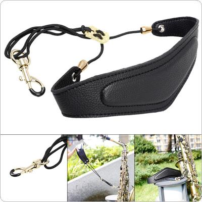 PU Leather Adjustable Saxophone Neck Strap with Brass Steel Hook Add Cotton Strap for Saxophone