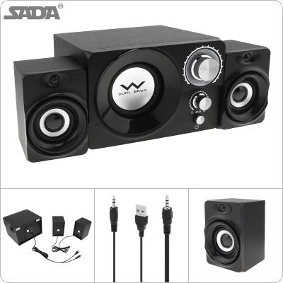 SADA S-20 2.1 Mini Black 3W Wooden Subwoofer Portable Music USB Computer Speaker with 3.5mm Audio Plug for Desktop / TV / PC / Smartphone
