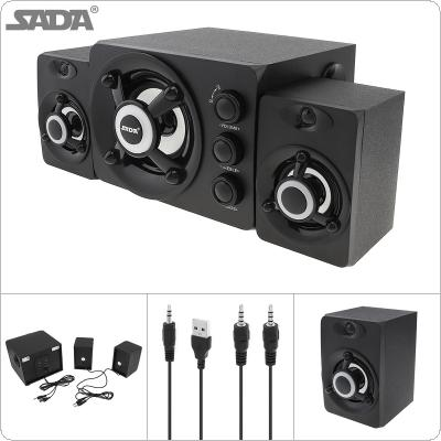 SADA D-208 2.1 Mini Black 3W Wooden 3D Surround Sound Subwoofer Music USB Computer Speaker with Luminescent Multicoloured Lamp for Desktop TV PC Smartphone