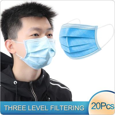 20 Pcs Face Mouth Anti Virus Mask Disposable Protect 3 Layers Dustproof Earloop Non Woven PM2.5 Pollution Breathable Filter Respirator Mouth Masks