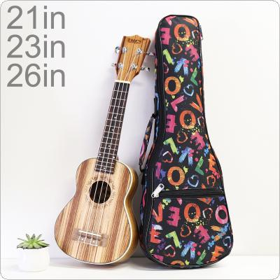 21 / 23 / 26 Inch Portable Ukulele Bag Love Words 10mm Sponge Soft Case Gig Ukulele Mini Guitar Waterproof Backpack