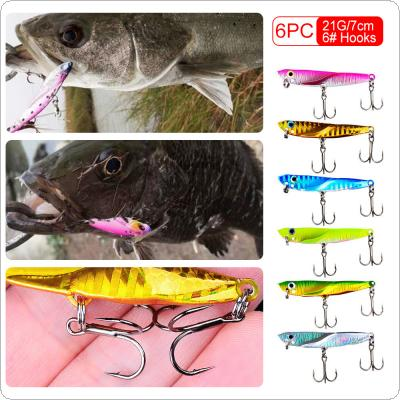 6pcs/lot Metal VIB Lure 7cm 21g Long Shot Sink Iron Fishing Lead Bait with 6# Hooks