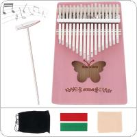 17 Key Kalimba Pink Solid Pine Wood Butterfly Sound Hole Thumb Piano Mbira Mini Keyboard Instrument
