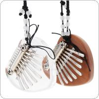 Mini 8 Key Kalimba Heart Shape Crystal & Mahogany Thumb Piano Mbira Decoration Instrument