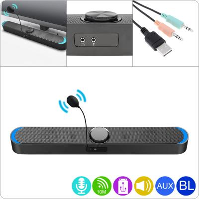 SADA V-198 Bluetooth Multi-media Soundbars Speaker Mobile Phone Computer Universal Mini Strip Speaker Stereo Surround Sound for Household Office with Microphone